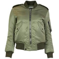 Saint Laurent Khaki Green Nylon Bomber Jacket, 2018