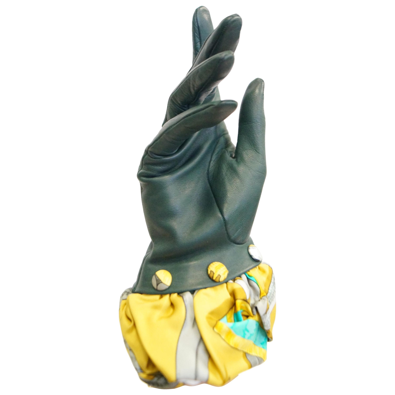 Hermes Green Calfskin Gloves with optional Silk Scarf Cuff