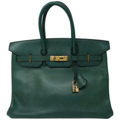 Hermes Green Vert Bengale Birkin 35 Bag