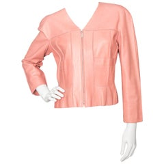 A 1990s Vintage Chanel Pink Leather Jacket