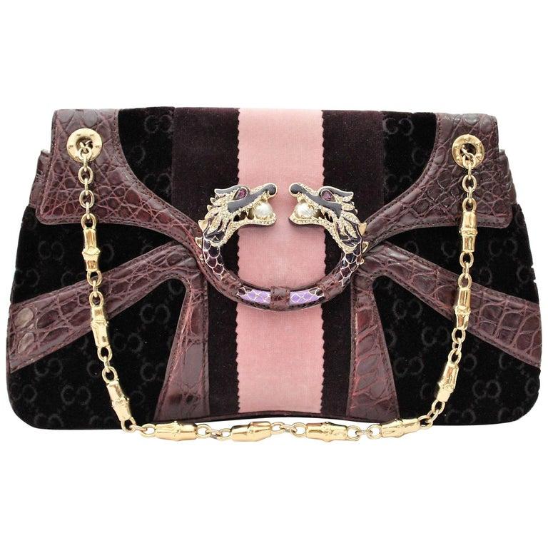GUCCI Limited Edition Violet GG Tom Ford Dragon Shoulder Bag