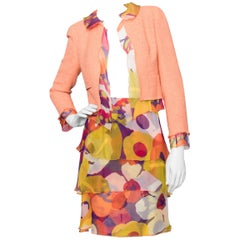 A 1990s Chanel Silk-Blend Jacket and Silk Chiffon Skirt Ensemble
