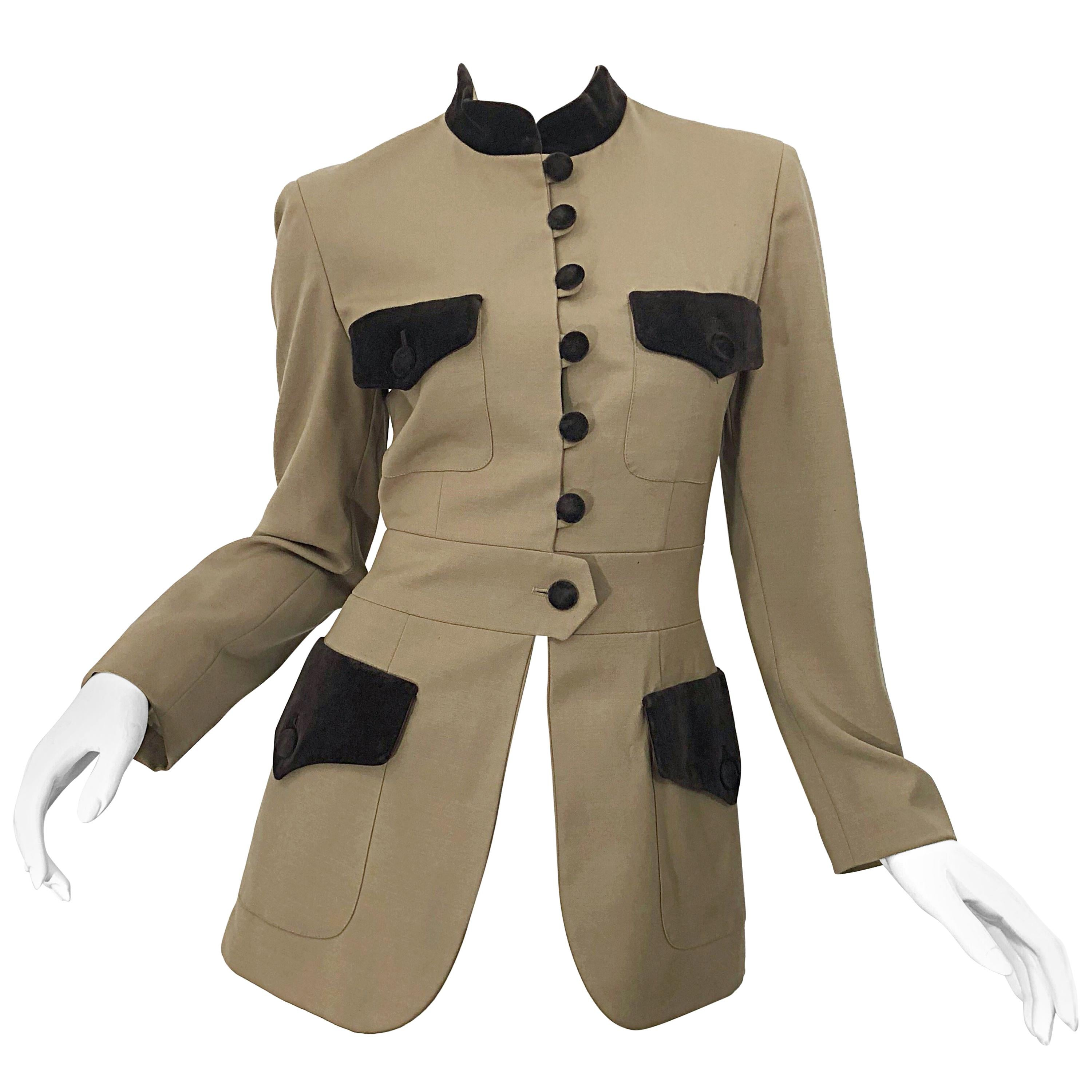 1990s Moschino Cheap & Chic Sz 8 Tan Brown Military Band Inspired Vintage Jacket