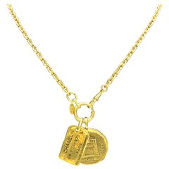 Chanel Vintage Gold Necklace with Two Charms