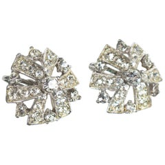 Signed Bogoff Art Deco Crystal Earrings, 1940s