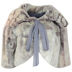 John Galliano 3/4 Sleeve Rabbit Cape Jacket with Rhinestone Studded Collar