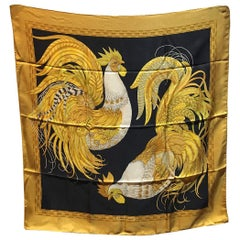 Salvatore Ferragamo Vintage Black and Gold Rooster Chicken Print Silk Scarf