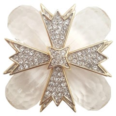 Kenneth Lane Lucite Briolettes Maltese Cross Brooch