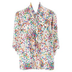 Yves Saint Laurent Lavalliere Dotted Silk Blouse