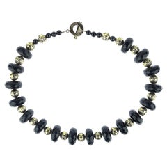 Statement Black Onyx and Brass Necklace