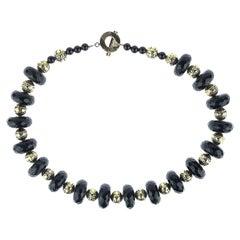 Gemjunky Statement Black Onyx and Brass Necklace