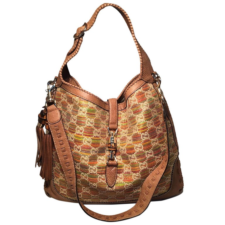 Gucci MultiColor GG Monogram Straw and Tan Leather New Jackie Shoulder Bag