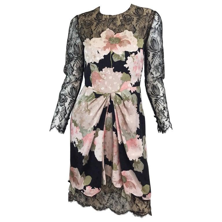 346d99f46c0 Bill Blass Vintage Silk with Lace Dress