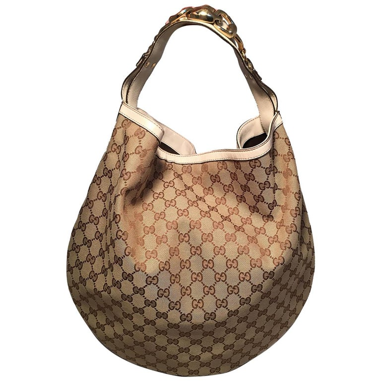 Gucci GG Monogram Canvas and Beige Leather Hobo Shoulder Bag For Sale d03a65a82b8ea