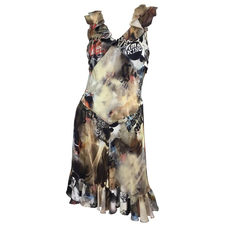 John Galliano I'm A King Silk Slip Dress