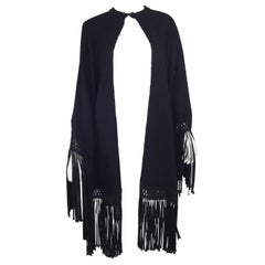 Black Wool and Crepe 1950's Wrap with Fringe