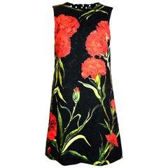 Dolce & Gabbana Red/Black Carnation Floral Brocade Print  Shift Dress sz 40