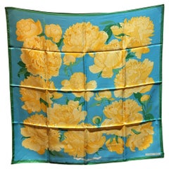 Hermes Vintage Les Pivoines Silk Scarf in Blue Green and Yellow c1978