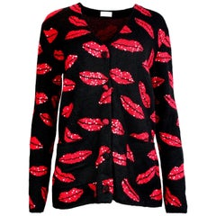 Saint Laurent Black Oversized Cardigan w. Red Sequin Lip Print Sz M rt. $2,490