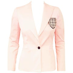 Christian Dior Soft Pink Cotton Jacket W/ Embroidered Emblem Decoration