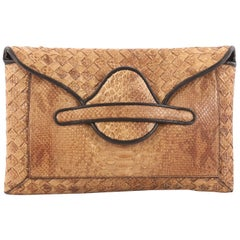 Bottega Veneta Envelope Clutch Python and Intrecciato Nappa Medium