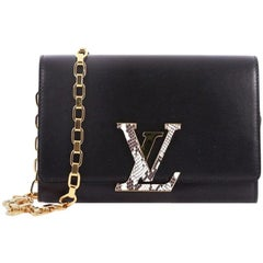 Louis Vuitton Chain Louise Clutch Leather with Python GM