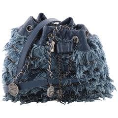 Chanel Drawstring Charm Bucket Bag Fringe Denim