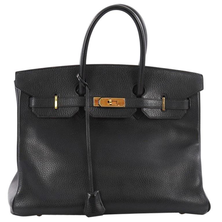 e40fb6b5796f7 Hermes Birkin Handbag Black Ardennes with Gold Hardware 35 For Sale ...