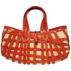 Nancy Gonzalez Red Crocodile Basket Handbag