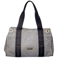 Salvatore Ferragamo Vintage Nautical Striped Navy Canvas Tote