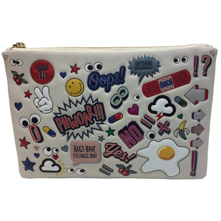 Anya Hindmarch White Leather Sticker Clutch