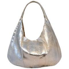 Devi Kroell Silver Snakeskin Hobo Shoulder Bag