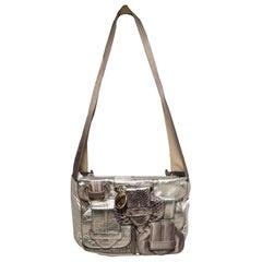 Chloe Silver Leather Satin Snakeskin Buckle Shoulder Bag
