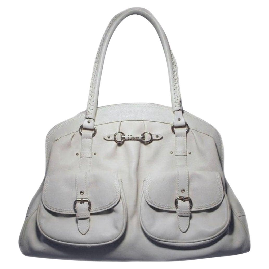 Christian Dior White Leather Shoulder Shopper Bag