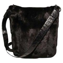 Nancy Gonzalez Black Mink Fur and Crocodile Crossbody Bag
