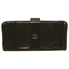 Chanel Black Leather Bow Wallet Clutch