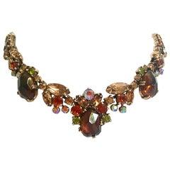 Gold & Swarovski Crystal Vintage Choker Style Necklace By, Delizza & Elster