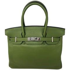 Hermes Pelouse Green Birkin 30 Bag