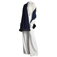 Verheyen London Handwoven Cashmere Shawl in Navy with Mink Trim