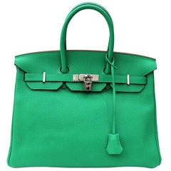 Hermes Mint Green Taurillon Clemence Leather Birkin 35 Bag