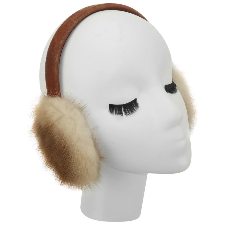 Blonde Mink Fur and Velvet Vintage Ear Muffs For Sale