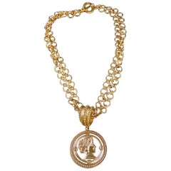 Patrizia Daliana Bronze Chain with Roman Dead Pendant Necklace