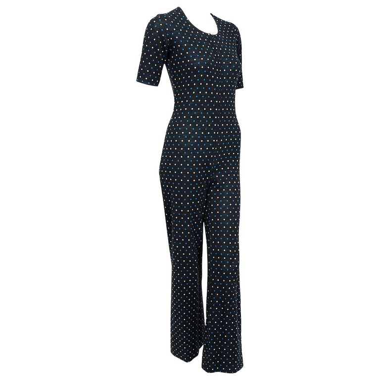 Yves Saint Laurent Rive Gauche Dotted Wool Knit Zip-Up Tailored Jumpsuit, 1973