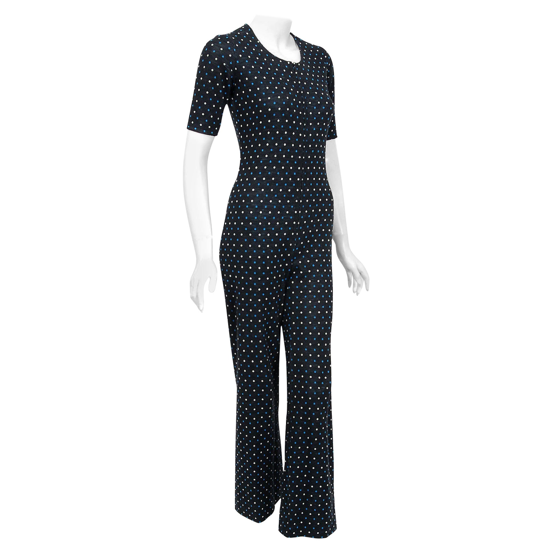Vintage 1973 Yves Saint Laurent Rive Gauche Dotted Wool Knit Zip-Up Jumpsuit