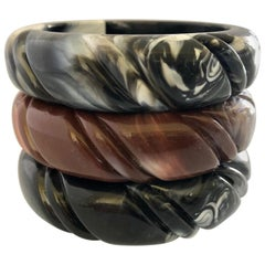 French Vintage Marbled Bangle Bracelets, 1970s