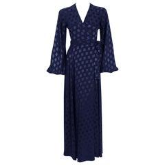 Ossie Clark for Quorum Navy Deco Print Satin Backless Billow-Sleeve Gown, 1972