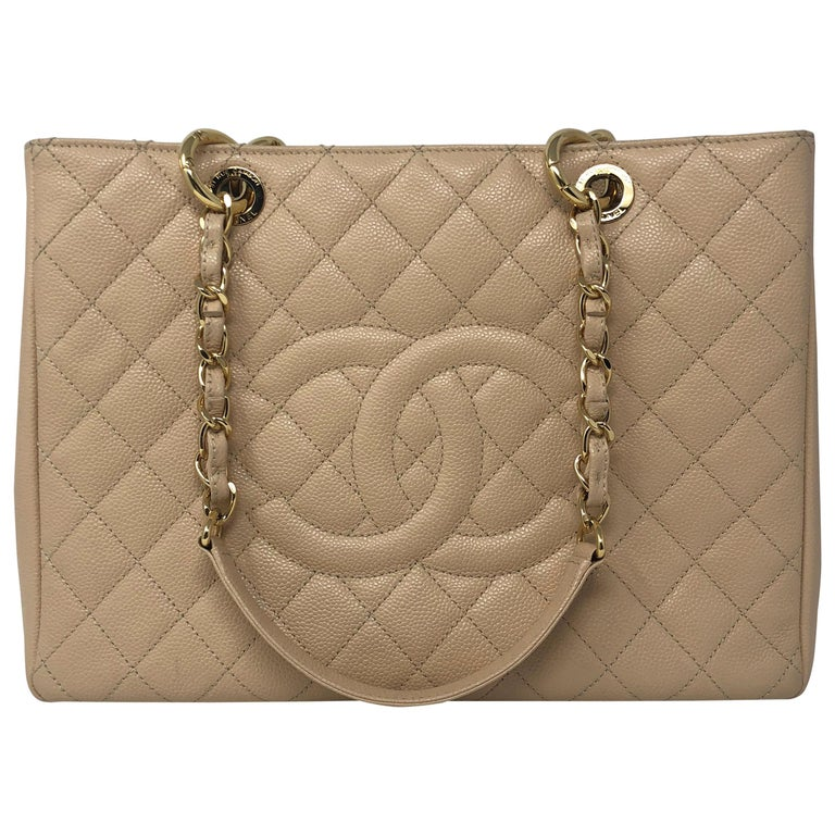 26251a39b0995f Chanel Cream Grand Shopper Tote For Sale. Chanel Cream Grand Shopper Tote  in Caviar leather. Beautiful cream color with gold hardware.