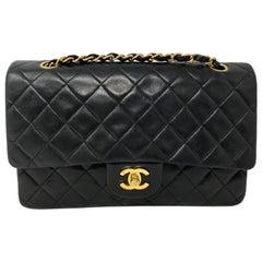 Chanel Vintage Black Classic Medium Double Flap Bag