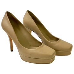 Gucci Soft Beige Leather Charlotte Pumps