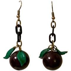 Jan Carlin Pair of Bakelite Grape Earrings